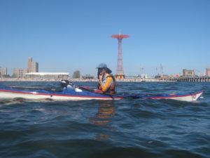 Paddling near Coney Island.